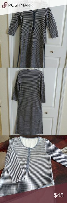 """Anthropologie Striped Tunic NWOT So soft and pretty! Button down long tunic with side slits. 17"""" across bust, 43"""" shoulder to hem in front and 46"""" length in back. This is great over your favorite leggings. Never worn. Navy and white. Anthropologie Tops Tunics"""