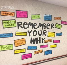 Staff Room Bulletin Board Set {Remember Your Why} Our leadership team found the perfect spot for our Remember Your Why bulletin board. It's right at the entrance of our staff room where it can encourage us to remember our purpose and passion. Teacher Morale, Staff Morale, Servant Leadership, School Leadership, Leadership Activities, Educational Leadership, Leadership Development, Team Bonding Activities, Mental Health Activities