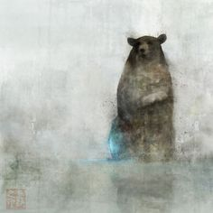 I like how the bear isn't right in the center, and he's walking out of the mist. Very soft.