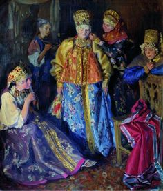 Dressing the Bride - Ivan Kulikov     1907 (via historyartsculture) Source: fleurdulys