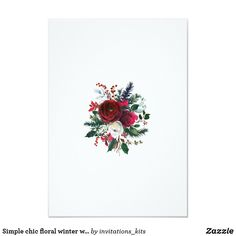 Simple chic floral winter wreath save date wedding card