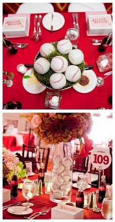 Baseball Party-cute for centerpiece for a guys birthday dinner. Super cute but t dont have boys! Hehe