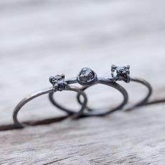 Double Black // Raw Diamond Ring