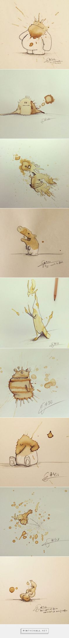 Funny Monster Drawings Made From Coffee Stains – Fubiz Amazing Artwork, Cool Artwork, Illustration Sketches, Graphic Illustration, Funny Monsters, 8th Grade Art, Monster Drawing, Coffee Painting, Art Challenge