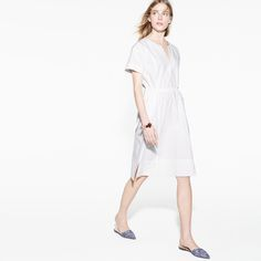 J.Crew Looks We Love: Women's kimono-sleeve dress, tassel cuff, and Harper fabric mules.