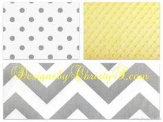 Gray Chevron and Gray Dot Crib Bedding by DesignsbyChristyS, $145.00