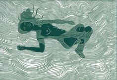 Buy Floating Nude, Linocut by Ellen Von Wiegand on Artfinder. Gravure Illustration, Illustration Art, Linocut Prints, Art Prints, Block Prints, Plakat Design, Floating, Art Graphique, Illustrations