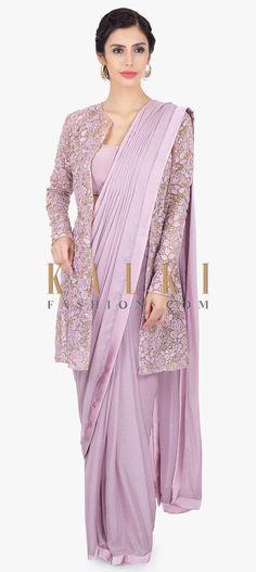 Shopzters | Time to follow the 'Shirt Jacket' Trend! Chiffon Saree, Saree Gown, Satin Saree, Chiffon Blouses, Saree Jacket Designs, Saree Blouse Neck Designs, Fancy Blouse Designs, Golden Blouse Designs, Net Saree Designs