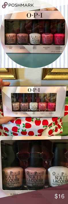 OPI All Stars Pack 💅🏼 Brand new! 💅🏼 Adorable little mini bottles of OPI all star (most popular) colors Bubble Bath, Tickle My France-y (one of my faves), Alpine Snow, Princesses Rule! (has a shimmery sparkle), and Strawberry Margarita. 💕 Makes a lovely addition to a gift bag for ladies of all ages. Cute little 3.75 ml bottles are perfect for carrying in your bag for emergency touch ups! No trades. Bundle and save! OPI Makeup