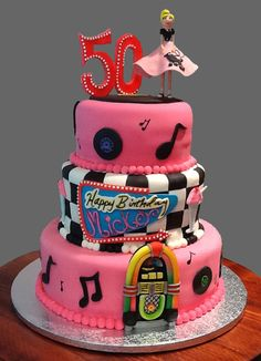 50's Birthday Cake with hand sculpted decorations