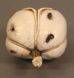 Japanese Ivory Shibayama Carving of a Fig