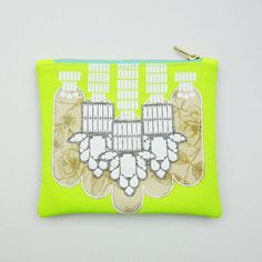 Your place to buy and sell all things handmade Clutch Bags, White Vinyl, Bold Prints, Floral Fabric, Neon Yellow, Vintage Floral, Bristol, Printed Cotton, My Design