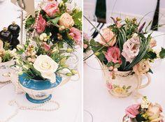 Teapot bouquets- bridal shower!