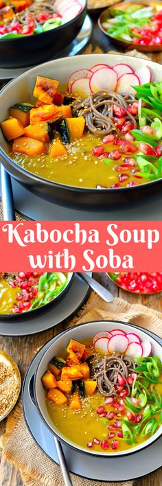 This roasted kabocha squash soup with soba is a whole meal in a bowl. Sweet winter kabocha squash with nutty soba noodles, crunchy pomegranate seeds and spicy radish slices combine in a warm, comforting soup that is perfect for a chilly fall or winter evening. This soba noodle bowl combines all the best of autumn's produce. Vegetarian Soup, Vegan Soups, Vegetarian Recipes, Healthy Recipes, Pumpkin Pasta, Vegan Pumpkin, Pumpkin Soup, Kabocha Squash Recipe, Kitchen