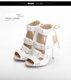 Feather  Sexy cute European style slingback heels, peek open, lace up back, high heels, stiletto, PU leather  Heel 11 cm  Platform 0.5 cm  Size-SA Size 3-6.5, Eur Size 35.5-40 US size 5.5-10  Color available white, black, red, blue  Condition-1...