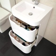500 Vanity Unit with Basin for Bathroom Ensuite Cloakroom - Soft Closing Modern White Curved Design - Inset Polyglomerate Stone Hand Wash Sink - Deep Fill 2 Drawer Gloss Storage (Dimensions ** Furniture Cabinet - Height: 815mm, Width: 500mm, Projection: 415mm ** Basin Height: 75mm, Basin Width: 500mm, Basin Projection: 425mm): Amazon.co.uk: DIY & Tools