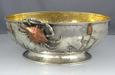 Whiting aesthetic period sterling silver and mixed metal bowl with applied crab motif  (Britannia Silver)