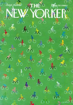 This cover resembles bicycle wrapping paper but there's whimsy to it — a field of cyclists.