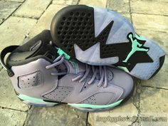 29b1c0b4fc11 Women s Air Jordan AJ6 Jordan 6 Basketball Shoes Gray Green Lavender Jordan  Shoes Online