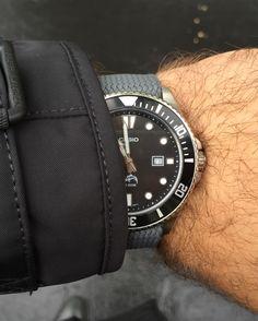 Casio MDV106, a $35-ish beater dive watch, seen here on grey perlon