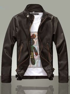 Mens Leather Jacket Casual Male Men\'s Leather Jacket Black ...