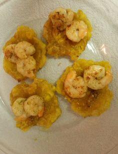 Fried plantains with shrimp scampi
