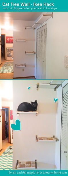 DIY Cat Hacks – Cat Tree Wall Ikea Hack – Tips and Tricks Ideas for Cat Beds and Toys, Homemade Remedies for Fleas and Scratching – Do It Yourself Cat Treat Recips, Food and Gear for Your Pet – Cool Gifts for Cats - toys Cat Wall Shelves, Shelves For Cats, Ikea Shelves, Cat Hacks, Ikea Hacks For Cats, Hacks Diy, Cat Perch, Ideal Toys, Cat Room