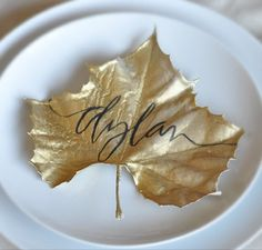 Beautiful placecard, one of my girlfriends just did this.  Spray painted leaves gold...her table was stunning.  It is those little details...
