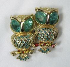 Vtg 1930s Coro Craft Matching Owl Fur Clips with Duette Frame Aqua Rhinestones #Corocraft