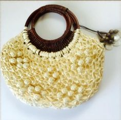 Coldwater Creek Bermuda Bag Purse Beige Cream Popcorn Ratan Top Handle Handbag #ColdwaterCreek #HoboBermudaBag