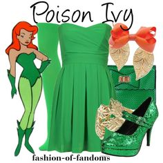 A fashion look from November 2014 featuring green color dress, green pantyhose and mary jane platform shoes. Ivy Fashion, Womens Fashion, Character Inspired Outfits, Tfnc, Fandom Fashion, Palm Beach Jewelry, Casual Cosplay, Poison Ivy, Reiss