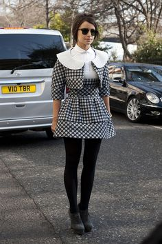 Street Style London Fashion Week  I would wear this to a birthday party, with neon pink shoes!