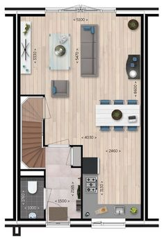 - Begane grond misschien ideetje voort als tante anneleen komt Tiny House Layout, House Layouts, Open Kitchen And Living Room, Home Living Room, Small House Plans, House Floor Plans, Narrow House, Sims House, Industrial House