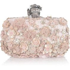 Alexander McQueen Flower-appliquéd silk-brocade box clutch ($2,650) ❤ liked on Polyvore