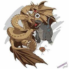 Godzilla: Ghidorah what the fudge! Ghidorah: I didn't mean to step on him! Godzilla: Watch where your going! Ghidorah: Ok ok fine! Thanos:my arms just broke All Godzilla Monsters, Godzilla Comics, King Kong, Godzilla Vs King Ghidorah, Animatronic Fnaf, Big Lizard, Godzilla Wallpaper, Fanarts Anime, Monster Art