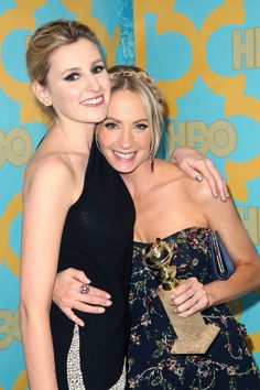 Pin for Later: Take a Look Back at the Best Moments From British Stars at the Golden Globes Laura Carmichael was the first to congratulate Joanne Froggatt in 2015