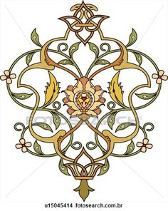 verde, ouro, laranja, folha, desenho Ampliar Gráfico Clipart