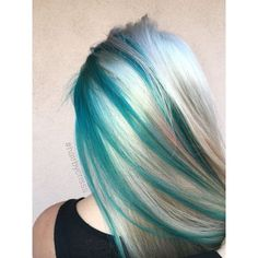 Teal turquoise blonde platinum mermaid hair #olaplex #mermaidhair ❤ liked on Polyvore featuring accessories and hair accessories