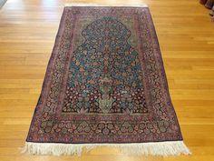 Indian Oriental Rug, 1 x 10 Blue Tabriz Prayer