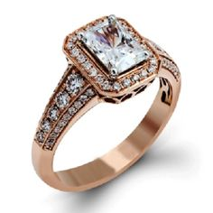 3.02 Carat Radiant Cut Diamond Channel Set 4 Prong Engagement Ring 14k Rose Gold