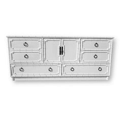 (Shipping costs are not included with the price of this listing. If you would like to have this item shipped to you, please contact us before you place your order. Thank you.) Vintage Drexel Kensington Faux Bamboo Dresser Credenza With Ring Pulls, Palm Beach Draper Style Original Hardware Original Finish Dovetailed Drawers Gently used and ready for your colors! The original finish has discoloration from age... See last inspiration photo to see how this piece would look in white :) Dimensi...