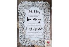 Faire-part mariage très moderne et chic - ciselé sur le tour du carton