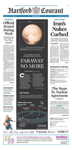 The Hartford Courant for July 15, 2015, via Today's Front Pages | Newseum #newsdesign #newspapers #newhorizons