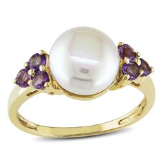 Miadora 10k Gold Cultured Freshwater Pearl and Amethyst Ring (8-8.5mm) (Size