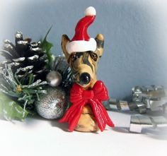 Greyhound Galgo Whippet Christmas Ornament Decoration Light Brindle with Santa Hat and Red Bow by GreyhoundCleyhounds on Etsy