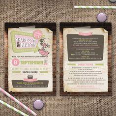 Rockabilly Wedding Invite - Old School Rockabilly and diner style wedding invite