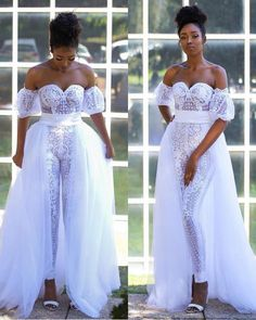 Most stylish collection of ankara short gown styles of 2019 trending today, try these short ankara gown styles Dream Wedding Dresses, Wedding Gowns, Lace Wedding, Party Wedding, Wedding Reception, Bridal Lace, Bridal Gowns, Jumpsuit With Train, White Jumpsuit