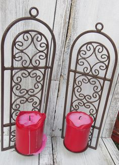 Cast iron vintage candle holders, wall mounted candle holders, ornate metal holders, candle sconces, brown metal wall decor by ChippedPaints on Etsy
