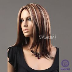 (WG-ZL973-33H27H613)Midium style Straight Hair Wig,brown and golden color.