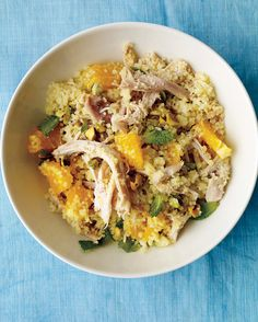 Using a supermarket rotisserie chicken and quick-cooking couscous gets this one-pot dinner on the table in a flash. Fresh mint leaves, chopped navel orange, and toasted pistachios lend vibrant flavors to this easy meal.